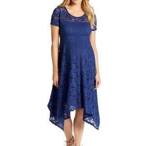 Jessica Simpson Lace Hanky Hem Maternity Dress